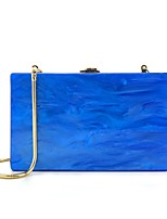 cheap -Women's Bags Acrylic / Alloy Evening Bag Buttons Solid Color Blue / White / Red