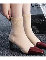 baratos -Mulheres Fashion Boots Pele Napa Inverno Botas Salto Robusto Dedo Fechado Botas Curtas / Ankle Preto / Vinho / Khaki