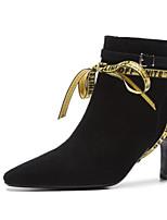 abordables -Femme Botillons Daim / Peau de mouton Automne Chaussures à Talons Talon Aiguille Bout pointu Bottine / Demi Botte Fleur en Satin Noir / Marron