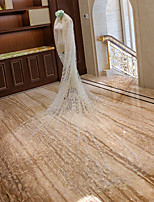 baratos -Duas Camadas Floral Véus de Noiva Véu Catedral com Apliques Tule