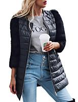 Недорогие -Жен. Пальто с мехом Секси / Изысканный - Однотонный Пэчворк