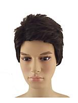 Недорогие -Парики из искусственных волос Прямой Стрижка под мальчика Искусственные волосы 8 дюймовый Мягкость / Жаропрочная / синтетический Черный Парик Муж. Короткие Без шапочки-основы Черный / коричневый