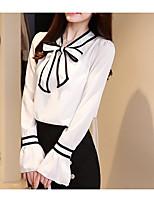 Недорогие -Жен. Праздники Блуза Хлопок, V-образный вырез Однотонный