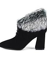 Недорогие -Жен. Комфортная обувь Замша / Кожа Зима Обувь на каблуках На толстом каблуке Черный / Миндальный