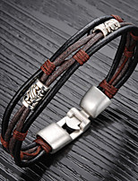 abordables -Homme Tressé Bracelets Vintage Bracelets en cuir Loom Bracelet - Acier au titane, Plaqué or Original, Rétro, Chinoiserie Bracelet Noir / Marron Pour Quotidien Plein Air