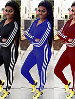 cheap -Women's Sexy / Patchwork Jumpsuit - Black, Red, Blue Sports Stripe Spandex High Rise Bodysuit Yoga, Running, Fitness Long Sleeve Activewear 3D Pad, Anatomic Design, Breathable Stretchy Slim