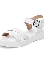 Недорогие -Жен. Комфортная обувь Наппа Leather Лето Обувь на каблуках На плоской подошве Синий