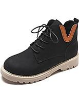 Недорогие -Жен. Армейские ботинки Полиуретан Осень На каждый день Ботинки На низком каблуке Круглый носок Ботинки Черный / Хаки