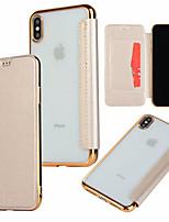 Недорогие -Кейс для Назначение Apple iPhone XR / iPhone XS Max Бумажник для карт / Покрытие / Флип Чехол Однотонный Твердый Кожа PU для iPhone XS / iPhone XR / iPhone XS Max