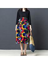 baratos -Mulheres Vintage Camiseta Vestido - Patchwork / Estampado, Sólido / Geométrica Médio