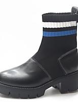 Недорогие -Жен. Fashion Boots Полиуретан Осень Ботинки На толстом каблуке Круглый носок Ботинки Черный