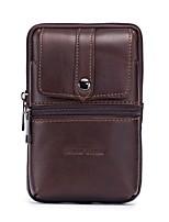 Недорогие -Муж. Мешки Кожа Мобильный телефон сумка Рельефный Сплошной цвет Кофейный