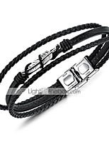 abordables -Homme Tressé Bracelets Bracelets en cuir Loom Bracelet - Acier au titane Plume Elégant, Original Bracelet Noir Pour Quotidien Plein Air