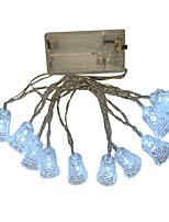 cheap -1.5m String Lights 10 LEDs Dip Led Warm White / White / Multi Color Decorative AA Batteries Powered 1pc