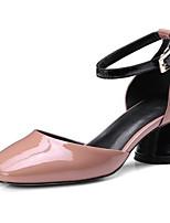 baratos -Mulheres Sapatos Confortáveis Pele Napa Verão Sapatos De Casamento Salto Robusto Cinzento / Rosa claro