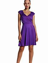 Недорогие -Жен. Классический Оболочка Платье - Однотонный, Плиссировка Выше колена