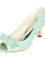 baratos -Mulheres Stiletto Renda Primavera Verão Doce Sapatos De Casamento Salto Sabrina Peep Toe Laço Verde / Azul / Ivory / Festas & Noite