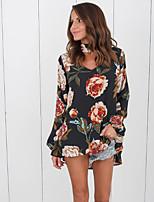 baratos -Mulheres Blusa - Para Noite Floral Decote V