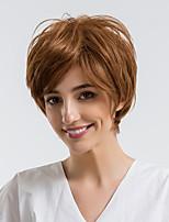 Недорогие -Человеческие волосы без парики Натуральные волосы Прямой Стрижка под мальчика Природные волосы Коричневый Без шапочки-основы Парик Жен. На каждый день