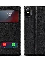 Недорогие -Кейс для Назначение Apple iPhone X / iPhone 8 Plus Кошелек / Защита от удара / со стендом Чехол Однотонный Твердый Настоящая кожа для iPhone X / iPhone 8 Pluss / iPhone 8