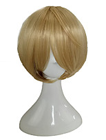 cheap -Synthetic Wig / Cosplay Wig Straight Blonde Layered Haircut Synthetic Hair 10 inch Cute / Cosplay / Heat Resistant Blonde Wig Men's / Women's Short Capless Blonde