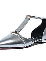 baratos -Mulheres Sapatos Confortáveis Pele Napa Primavera Rasos Sem Salto Dourado / Prata