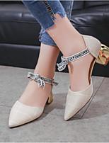 Недорогие -Жен. Комфортная обувь Полиэстер Весна & осень Обувь на каблуках На толстом каблуке Белый / Серый
