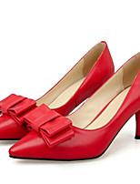 Недорогие -Жен. Комфортная обувь Наппа Leather Лето Обувь на каблуках На шпильке Черный / Бежевый / Красный