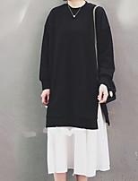 preiswerte -Damen Grundlegend Swing Kleid - Patchwork, Solide / Einfarbig Midi