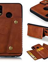 Недорогие -Кейс для Назначение Huawei P20 / P20 lite Бумажник для карт / Защита от удара Кейс на заднюю панель Однотонный Твердый Кожа PU для Huawei P20 / Huawei P20 lite