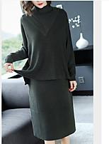 Недорогие -Жен. Классический Трикотаж Платье - Однотонный, Пэчворк Средней длины
