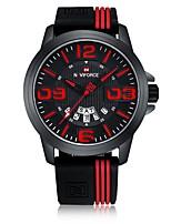 Недорогие -NAVIFORCE Муж. Спортивные часы Наручные часы Японский Японский кварц 30 m Защита от влаги Календарь Повседневные часы силиконовый Группа Аналоговый На каждый день Мода Черный -