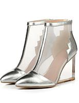 Недорогие -Жен. Комфортная обувь Наппа Leather Лето Обувь на каблуках Туфли на танкетке Золотой / Черный / Серебряный