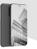 Недорогие -Кейс для Назначение OnePlus OnePlus 6 Кошелек / со стендом / Зеркальная поверхность Чехол Однотонный Твердый Кожа PU для OnePlus 6