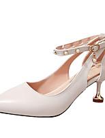 abordables -Femme Escarpins Polyuréthane Automne Chaussures à Talons Talon Aiguille Bout pointu Billes Noir / Beige / Marron / Soirée & Evénement / Quotidien / Soirée & Evénement