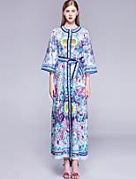 baratos -Mulheres Vintage / Moda de Rua Kaftan Vestido - Estampado, Floral Longo
