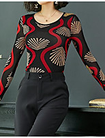 baratos -Mulheres Blusa Listrado Algodão