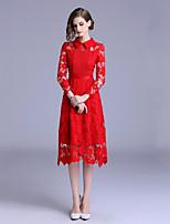 Недорогие -Жен. Элегантный стиль Оболочка Платье Кружева Средней длины