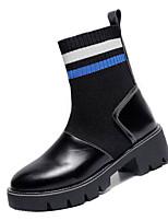 Недорогие -Жен. Армейские ботинки Полиуретан Осень На каждый день Ботинки На низком каблуке Сапоги до середины икры Красный / Синий