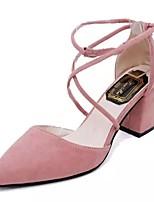 Недорогие -Жен. Strappy Stacked Heels Полиуретан Осень Обувь на каблуках На толстом каблуке Заостренный носок Черный / Серый / Розовый / Повседневные