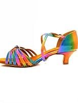 """Недорогие -Жен. Обувь для латины Кожа Сандалии / На каблуках Каблук """"Клеш"""" Персонализируемая Танцевальная обувь Цвет радуги"""