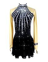 abordables -Robe de Patinage Artistique Femme / Fille Patinage Robes Noir Spandex Micro-élastique Professionnel Tenue de Patinage Paillette Manches Longues Patinage Artistique