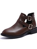 Недорогие -Жен. Fashion Boots Полиуретан Осень Минимализм Ботинки На низком каблуке Круглый носок Ботинки Черный / Хаки