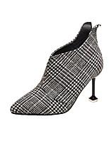 Недорогие -Жен. Fashion Boots Хлопок Наступила зима Ботинки На шпильке Заостренный носок Ботинки Черный / Черно-белый