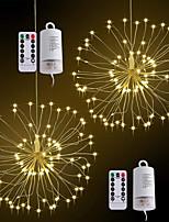 abordables -ZDM® 0.2m Guirlandes Lumineuses 120 LED SMD 0603 1 télécommande 13Keys Blanc Chaud Imperméable / Design nouveau / Décorative Piles AA alimentées 2pcs