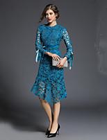 Недорогие -Жен. Классический Вспышка рукава Оболочка Платье - Однотонный, Аппликация До колена