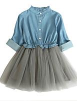 preiswerte -Kinder Mädchen Einfarbig Langarm Kleid