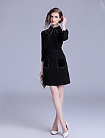 Недорогие -Жен. Классический / Элегантный стиль Оболочка Платье Бант / Жемчуг До колена