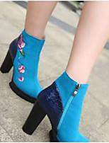 Недорогие -Жен. Fashion Boots Замша Зима Ботинки На толстом каблуке Закрытый мыс Ботинки Черный / Синий / Светло-синий