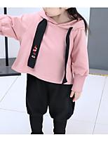 Недорогие -Дети Девочки Однотонный Длинный рукав Набор одежды
